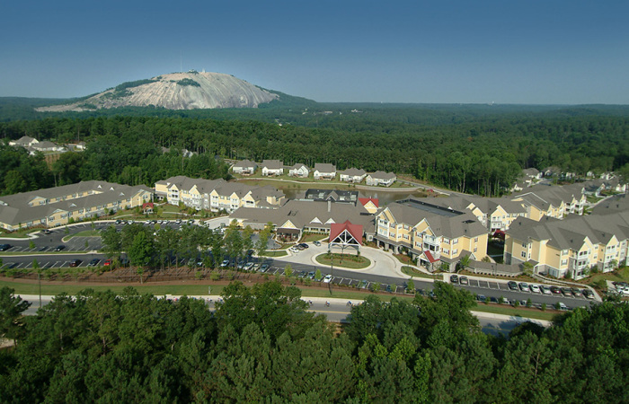 Arial view, with Stone Mountain in background